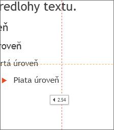 Značka znázorňujúca vzdialenosť od stredu snímky