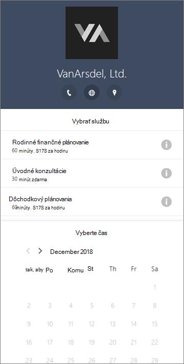 Vzorový rezervačný formulár pre podniky s finančnými službami