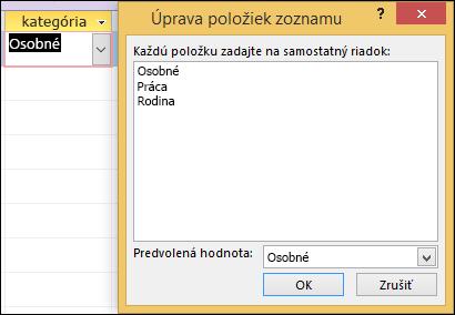 Dialógové okno Úprava položiek zoznamu vo formulári programu Access