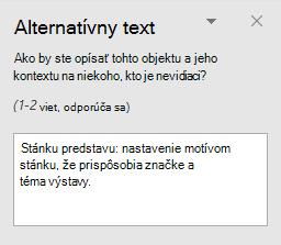 Tabla Alternatívny text pre tvar