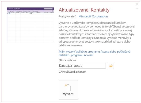 Snímka obrazovky kontakt zoznamu rozhrania