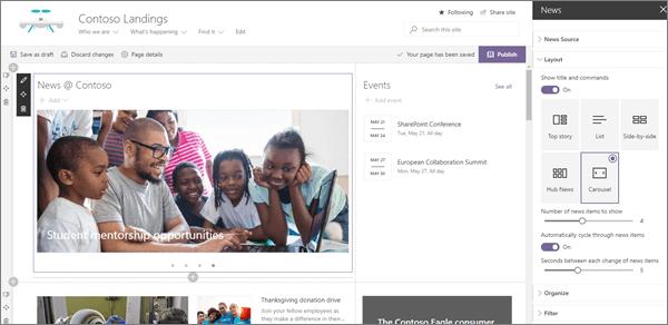 Ukážka vstupnej webovej časti správy pre modernú podnikovú lokalitu pristátia v SharePointe Online