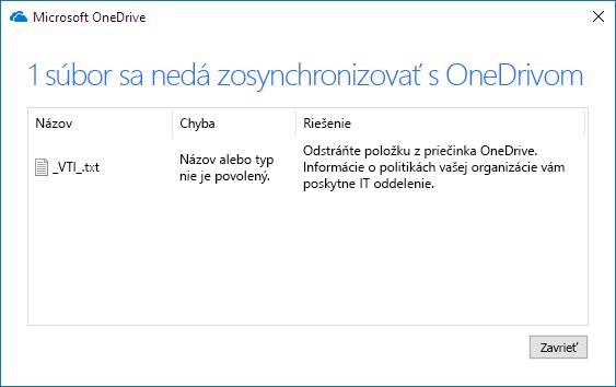OneDrive – súbor sa nedá synchronizovať