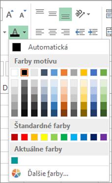 Výber farieb písma