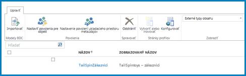 Snímka obrazovky pása s nástrojmi v štandardnom zobrazení Typy externého obsahu v službe BCS.