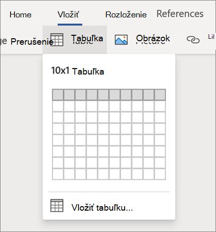 Vloženie tabuliek vo Worde pre web