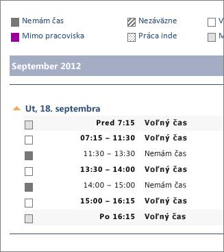 Príklad zdieľania kalendára prostredníctvom e-mailu