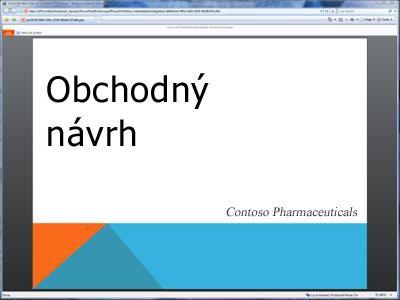 Vysielaná prezentácia tak, ako sa zobrazuje v prehliadači