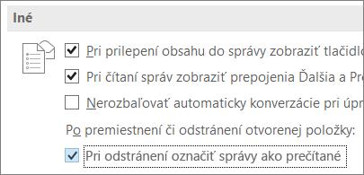 Začiarkavacie políčko Pri odstránení označiť správy ako prečítané v dialógovom okne Možnosti Outlooku