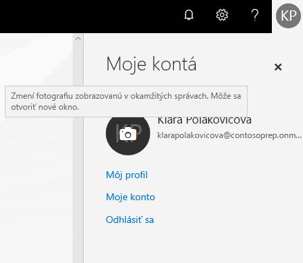 Tabla Moje konto s kruhovým priestorom na fotografiu, ktorý zobrazuje ikonu fotoaparátu pri ukázaní