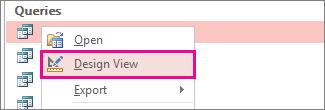 Kontextová ponuka dotazu na navigačnej table