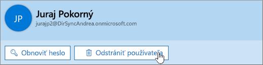 Odstránenie používateľa