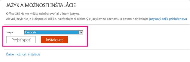 Zobrazí sa obrazovka nastavenia jazyka v správe konta služieb Office 365