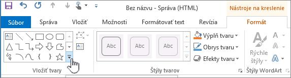 Tlačidlo Vložiť tvar v Outlooku