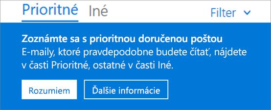 Obrázok znázorňujúci, ako vyzerá Prioritná doručená pošta, keď používateľ prvýkrát otvorí Outlook na webe.