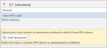 Dialógové okno Uložiť ako PDF so žltým poľom správy s výzvou na kontrolu zjednodušenia ovládania PDF súboru ešte pred uložením