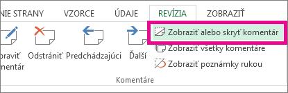 Na karte Revízia kliknite na položku Zobraziť alebo skryť komentár