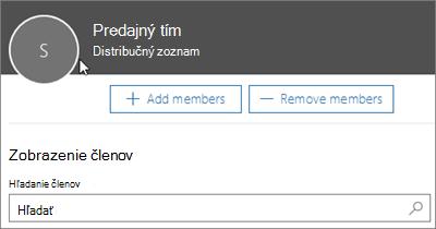 Snímka obrazovky: Pridanie členov do distribučného zoznamu