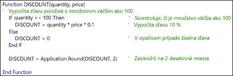 Príklad funkcie VBA s komentármi