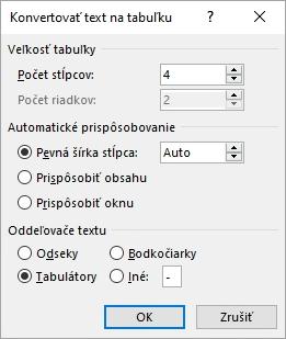 Zobrazuje sa dialógové okno Konvertovať text na tabuľku.