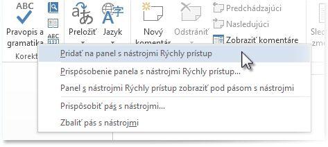 Pridanie príkazu Pravopis a gramatika na panel s nástrojmi Rýchly prístup vo Worde