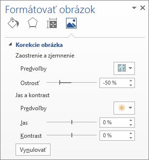 Možnosti opráv obrázkov na pracovnej table Formátovať obrázok