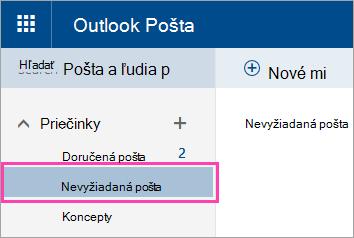 Snímka obrazovky s priečinkom Nevyžiadaná pošta