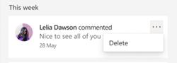 Možnosť odstrániť komentár na table s podrobnosťami služby OneDrive.