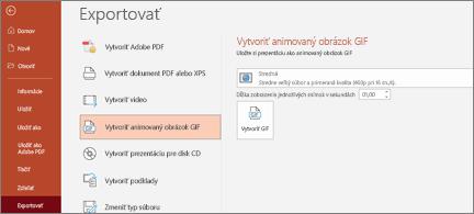 Súbor > Exportovať stránku so zvýrazneným vytvorením animovaného obrázka vo formáte GIF
