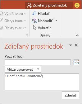 Dialógové okno s tablou Zdieľanie v PowerPointe