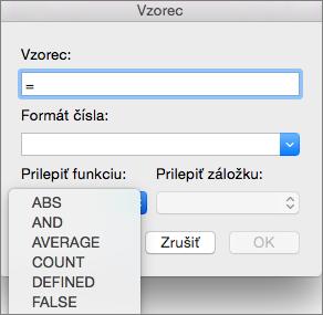V poli Vzorec vyberte funkciu v zozname Prilepiť funkciu