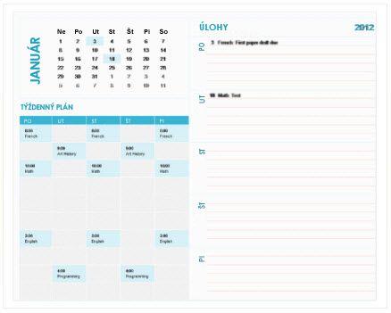 Šablóna študentského týždenného plánovacieho kalendára (Excel)