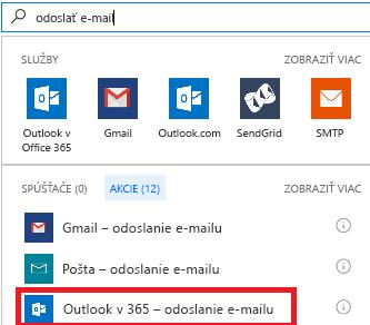 Snímka obrazovky: Vyberte akciu: Outlook vslužbách Office 365 - odoslanie e-mailu