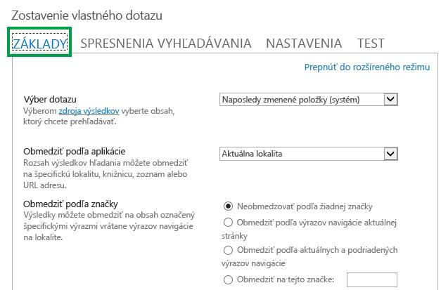 Karta ZÁKLADNÉ pri konfigurovaní dotazu vo webovej časti vyhľadávania obsahu