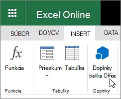 "Snímka obrazovky s detail doplnky skupiny na karte Vložiť na páse s nástrojmi s kurzorom ukazujúcim na ""Office doplnky""."