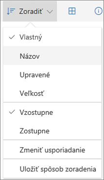Snímka obrazovky s ponukou zoradenia vo OneDrive