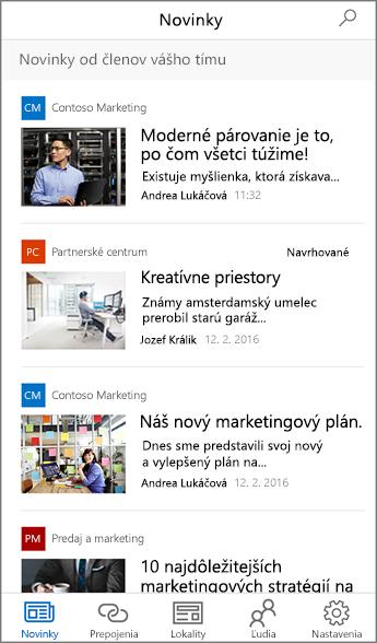 Snímka obrazovky s agregovanými tímovými novinkami