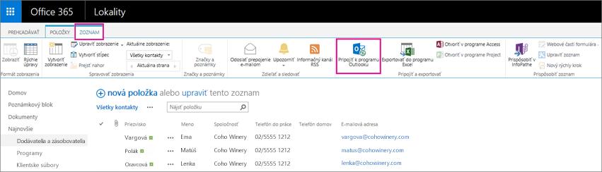 Vyberte možnosť Pripojiť kprogramu Outlook na synchronizáciu zoznamu kontaktov sOutlookom