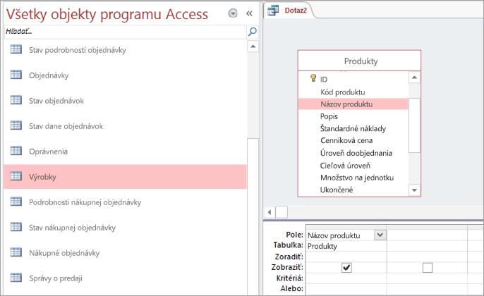 Snímka obrazovky všetky objekty programu Access zobrazení