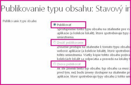 Na lokalite rozbočovača na stránke Publikovanie typov obsahu môžete publikovať, opätovne publikovať alebo zrušiť publikovanie typu obsahu.