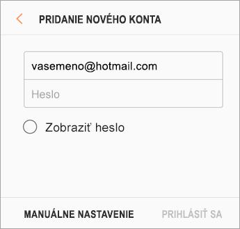 E-mailová adresa a heslo