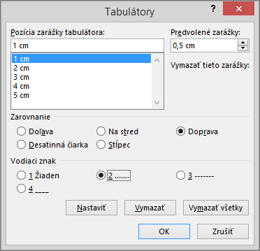 Zobrazenie možností vdialógovom okne Tabulátory.