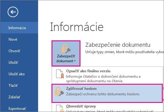 Zabezpečenie dokumentu heslom