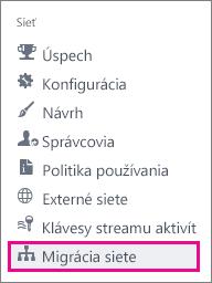 Snímka obrazovky spoložkou ponuky Migrácia siete pre správcov Yammera