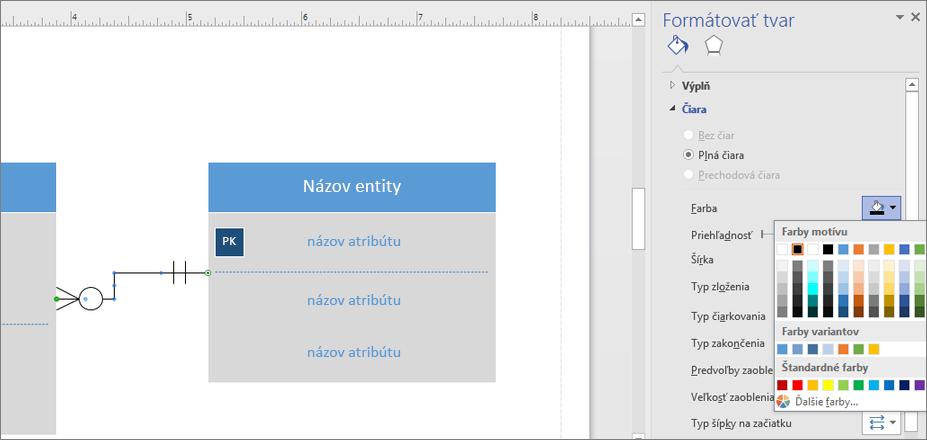 Kliknite na ikonu vedľa položky Farba a zmeňte farbu čiary vzťahu.