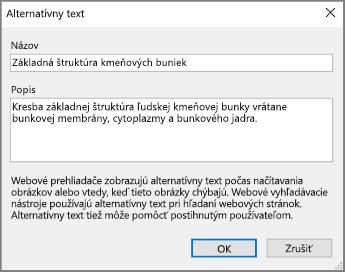 Snímka obrazovky dialógového okna Alternatívny text vo OneNote so vzorovým textom v poliach Názov aPopis.