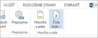 Obrázok možnosti Čísla strán na karte Vložiť