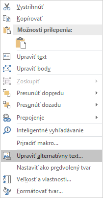 Excelová ponuka Upraviť alternatívny text pre tvary vo Win32