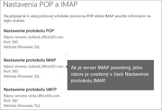 Zobrazí sa prepojenie na nastavenie prístupu pre protokoly POP aIMAP
