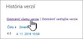 Dialógové okno Verzia so zvýraznenou položkou Odstrániť všetky verzie